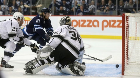 <p>               Winnipeg Jets' Kyle Connor (81) scores on Los Angeles Kings' goaltender Jack Campbell (36) with Alec Martinez (27) in front of the net during second period NHL hockey action in Winnipeg, Manitoba, Tuesday, Oct. 9, 2018. (Trevor Hagan/The Canadian Press via AP)             </p>
