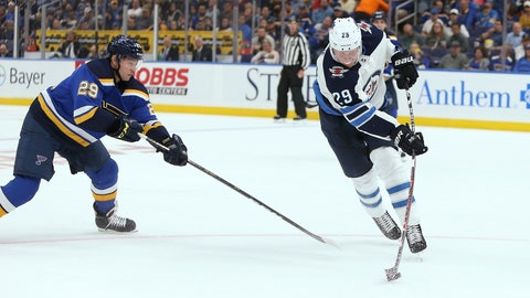 <p>               Winnipeg Jets right wing Patrik Laine (29), of Finland, takes a shot on goal while under pressure from St. Louis Blues defenseman Vince Dunn (29) during the first period of an NHL hockey game Thursday, Oct. 4, 2018, in St. Louis. (AP Photo/Scott Kane)             </p>