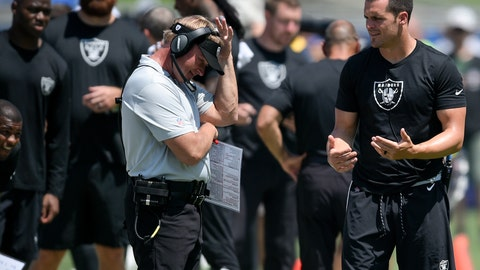 <p>               In this Aug. 18, 2018 photo Oakland Raiders quarterback Derek Carr, right, speaks with head coach Jon Gruden during the first half of an NFL preseason football game against the Los Angeles Rams in Los Angeles. Carr's career was on a clear upward trajectory his first three seasons before a broken leg in the second-to-last game in 2016 ended his season and any hopes the Oakland Raiders had of competing in the playoffs that year. The leg took a few months to heal but Carr hasn't been the same quarterback since then, even with the coaching change that brought Gruden to Oakland. (AP Photo/Kelvin Kuo)             </p>
