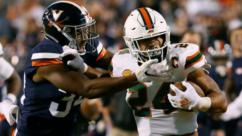 <p>               Miami running back Travis Homer (24) pushes off Virginia cornerback Bryce Hall (34) during the first half of an NCAA college football game in Charlottesville, Va., Saturday, Oct. 13, 2018. (AP Photo/Steve Helber)             </p>