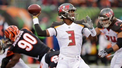 <p>               Tampa Bay Buccaneers quarterback Jameis Winston (3) prepares to throw against the Cincinnati Bengals during the first half of an NFL football game in Cincinnati, Sunday, Oct. 28, 2018. (AP Photo/Michael Conroy)             </p>