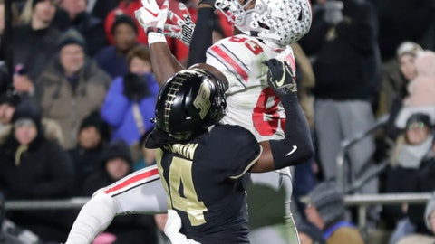 <p>               Purdue cornerback Antonio Blackmon (14) breaks up a pass to Ohio State wide receiver Terry McLaurin (83) during the first half of an NCAA college football game in West Lafayette, Ind., Saturday, Oct. 20, 2018. (AP Photo/Michael Conroy)             </p>