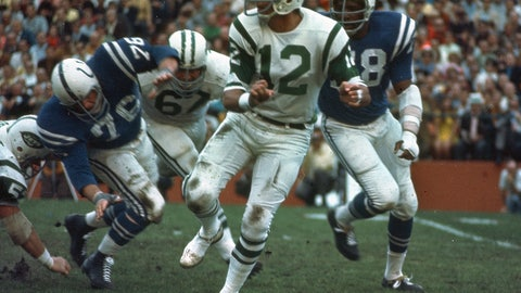 <p>               FILE - In this Jan. 12, 1969, file photo, New York Jets quarterback (12) Joe Namath gets off a pass under pressure from the Baltimore Colts defenders during Super Bowl III in Miami, Fla. Namath will be in the building Sunday, and so will the rest of the only Super Bowl-winning Jets team. It's the 50-year anniversary of that squad, and rookie quarterback Sam Darnold will take on the Indianapolis Colts _ the same franchise that was stunned by New York in that historic game. (AP Photo/File)             </p>