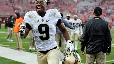 <p>               FILE - In this Sept. 29, 2018, file photo, Purdue wide receiver Terry Wright (9) celebrates as he leaves the field following an NCAA college football game against Nebraska in Lincoln, Neb. Purdue won 42-28. The Purdue Boilermakers finally look like the team Jeff Brohm envisioned. They're improving on defense, making big plays on offense and are chalking up wins.(AP Photo/Nati Harnik, File)             </p>