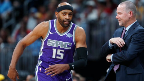 <p>               FILE - In this Saturday, Oct. 21, 2017 file photo, Sacramento Kings guard Vince Carter, left, jokes with Denver Nuggets head coach Michael Malone after putting the ball in play in the first half of an NBA basketball game in Denver. Vince Carter almost feels like a rookie when this time of year rolls around. Never mind the specks of gray in his beard, all the wear and tear on his body, the resume that shows he entered the NBA the same year teammate Trae Young was born. The league's oldest player, Carter who will turn 42 in January is back for his 21st season. (AP Photo/David Zalubowski, File)             </p>