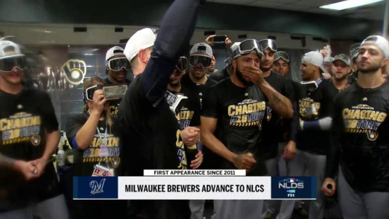 WATCH: Brewers party after sweeping NLDS