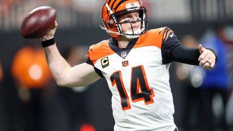 <p>               FILE - In this Sept. 30, 2018, file photo, Cincinnati Bengals quarterback Andy Dalton (14) works out of the pocket against the Atlanta Falcons during the second half of an NFL football game, in Atlanta. Dalton had a perfect passer rating in the first half of the Bengals' latest victory. (AP Photo/John Bazemore)             </p>