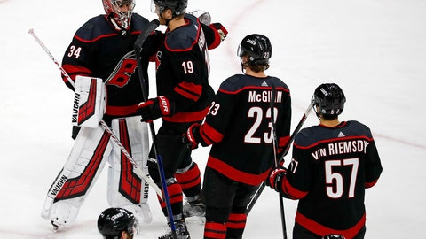 <p>               Carolina Hurricanes goaltender Petr Mrazek (34) is congratulated on his 8-5 win over the New York Rangers by his teammates, Sunday, Oct. 7, 2018, in Raleigh, N.C. (AP Photo/Karl B DeBlaker)             </p>