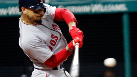 <p>               File-This Sept. 23, 2018, file photo shows Boston Red Sox's Mookie Betts hitting a double in the seventh inning of a baseball game against the Cleveland Indians, in Cleveland.  Betts won this year's AL batting title at .346 and with (32) homers and 30 (stolen bases) became the first player to lead either league in batting as part of a 30-30 season.  (AP Photo/Tom E. Puskar, File)             </p>