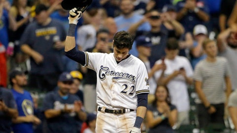 <p>               FILE - In this Monday, Sept. 17, 2018, file photo, Milwaukee Brewers' Christian Yelich reacts after receiving a standing ovation from the crowd after hitting a triple to complete the cycle during the sixth inning of a baseball game against the Cincinnati Reds, in Milwaukee. When Yelich takes the field against the Los Angeles Dodgers, he'll have one group of Milwaukee fans rooting especially loud for his success: Serbian-Americans. (AP Photo/Aaron Gash, File)             </p>