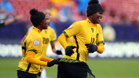 <p>               Jamaica midfielder Deneisha Blackwood (14) celebrates the goal by midfielder Khadija Shaw (11) during the first half against Panama in the third place match of the CONCACAF women's World Cup qualifying tournament, Wednesday, Oct. 17, 2018, in Frisco, Texas. (AP Photo/Richard W. Rodriguez)             </p>