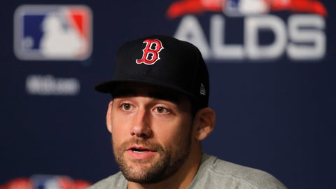 <p>               Boston Red Sox starting pitcher Nathan Eovaldi answers questions during a news conference, Sunday, Oct. 7, 2018, in New York. Eovaldi is scheduled to start Game 3 against the New York Yankees. (AP Photo/Julie Jacobson)             </p>