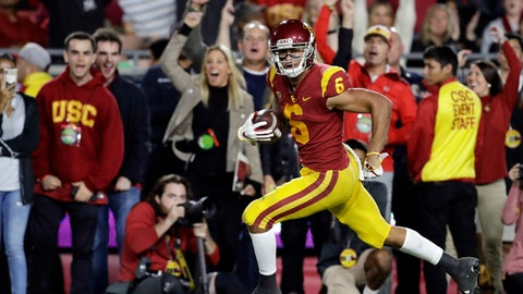 <p>               Southern California wide receiver Michael Pittman Jr. (6) runs for a touchdown after a reception during the first half of an NCAA college football game against Colorado on Saturday, Oct. 13, 2018, in Los Angeles. (AP Photo/Marcio Jose Sanchez)             </p>