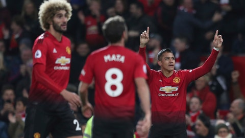 <p>               Manchester United's Alexis Sanchez celebrates after scoring his sides 3rd goal during their English Premier League soccer match between Manchester United and Newcastle United at Old Trafford in Manchester, England, Saturday, Oct. 6, 2018. (AP Photo/Jon Super)             </p>