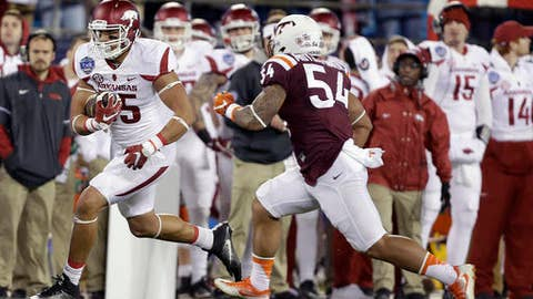 <p>               FILE - In this Dec. 29, 2016, file photo, Arkansas's Cheyenne O'Grady, left, runs down the sideline as he is pursued by Virginia Tech's Andrew Motuapuaka, right, during the first half of the Belk Bowl NCAA college football game in Charlotte, N.C. O'Grady missed Arkansas' first two games of the season while suspended, and he saw little action in the next two. The junior tight end has emerged as one of the Razorbacks top offensive options in the last two games, however, including a two-touchdown effort against No. 1 Alabama last week. (AP Photo/Bob Leverone, File)             </p>