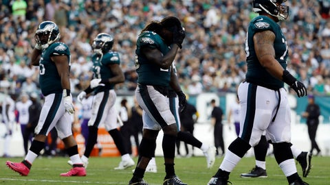 <p>               Philadelphia Eagles' Jay Ajayi walks off the field after fumbling during the second half of an NFL football game against the Minnesota Vikings, Sunday, Oct. 7, 2018, in Philadelphia. (AP Photo/Michael Perez)             </p>