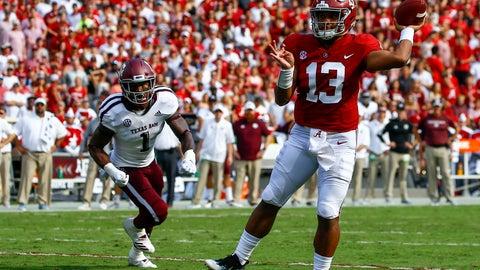 <p>               Alabama quarterback Tua Tagovailoa (13) throws a touchdown pass against Texas A&M during the first half of an NCAA college football game, Saturday, Sept. 22, 2018, in Tuscaloosa, Ala. (AP Photo/Butch Dill)             </p>