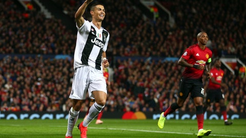 <p>               Juventus forward Cristiano Ronaldo gestures to a teammate during the Champions League group H soccer match between Manchester United and Juventus at Old Trafford, Manchester, England, Tuesday, Oct. 23, 2018. (AP Photo/Dave Thompson)             </p>
