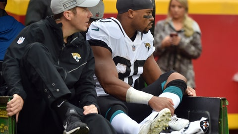 <p>               Jacksonville Jaguars running back Corey Grant (30) is carted off the field during the first half of an NFL football game against the Kansas City Chiefs in Kansas City, Mo., Sunday, Oct. 7, 2018. (AP Photo/Ed Zurga)             </p>