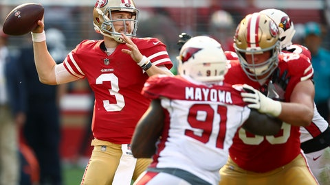 <p>               FILE - In this Oct. 7, 2018, file photo, San Francisco 49ers quarterback C.J. Beathard (3) throws a pass against the Arizona Cardinals during the second half of an NFL football game in Santa Clara, Calif. Beathard, who took over at quarterback after a season-ending knee injury to Jimmy Garoppolo, and the 49ers play the Green Bay Packers this week. (AP Photo/Ben Margot, File)             </p>