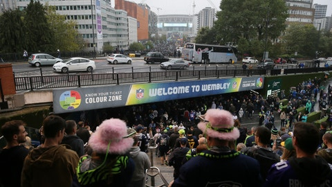 <p>               People stand at the top of the stairs from Wembley Park tube station as supporters arrive for an NFL football game between Seattle Seahawks and Oakland Raiders at Wembley stadium in London, Sunday, Oct. 14, 2018. (AP Photo/Tim Ireland)             </p>