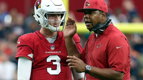 <p>               FILE - In this Sunday, Sept. 23, 2018, file photo, Arizona Cardinals rookie quarterback Josh Rosen (3) talks with then-quarterbacks coach Byron Leftwich during the second half of an NFL football game against the Chicago Bears in Glendale, Ariz. Leftwich, who has been promoted to offensive coordinator, is the fifth coordinator that Rosen has had in the past five seasons. (AP Photo/Ralph Freso, File)             </p>