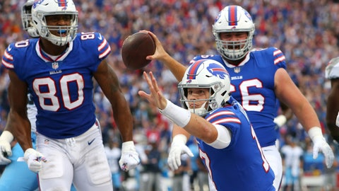 <p>               Buffalo Bills quarterback Josh Allen (17) celebrates after scoring a rushing touchdown against the Tennessee Titans during the first half of an NFL football game, Sunday, Oct. 7, 2018, in Orchard Park, N.Y. (AP Photo/Jeffrey T. Barnes)             </p>