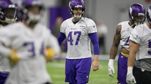 <p>               In this Sept. 20, 2018 photo, Minnesota Vikings long snapper Kevin McDermott, right,  watches during NFL football practice in Eagan, Minn. (Jerry Holt/Star Tribune via AP)             </p>