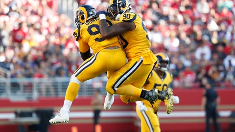 <p>               Los Angeles Rams defensive tackle Aaron Donald, left, celebrates with defensive tackle Michael Brockers (90) during the second half of an NFL football game against the San Francisco 49ers in Santa Clara, Calif., Sunday, Oct. 21, 2018. (AP Photo/Tony Avelar)             </p>