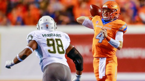 <p>               Boise State quarterback Brett Rypien (4) looks to throw downfield as Colorado State defensive lineman Ellison Hubbard (98) pressures him in the first half of an NCAA college football game, Friday, Oct. 19, 2018, in Boise, Idaho. (AP Photo/Steve Conner)             </p>