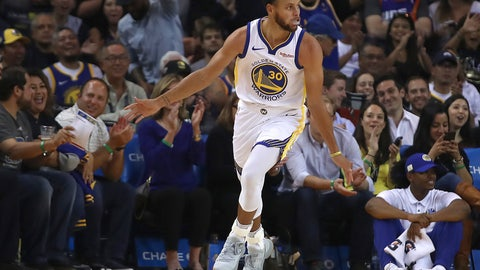 <p>               Golden State Warriors' Stephen Curry celebrates after scoring against the Phoenix Suns during the first half of a preseason NBA basketball game Monday, Oct. 8, 2018, in Oakland, Calif. (AP Photo/Ben Margot)             </p>