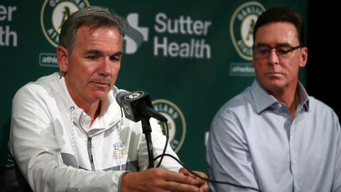 <p>               Oakland Athletics' Executive VP of Baseball Operations Billy Beane, left, and Manager Bob Melvin answer questions from reporters during a media conference Friday, Oct. 5, 2018, in San Francisco. After a 97-65 regular season, Oakland lost the wild-card game 7-2 to New York on Wednesday night at Yankee Stadium. (AP Photo/Ben Margot)             </p>