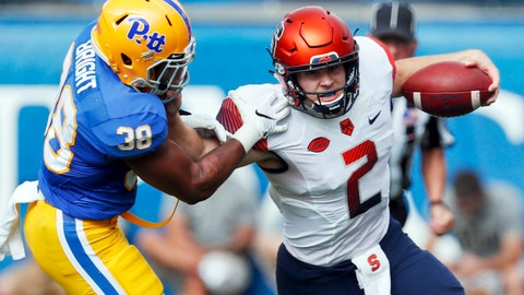 <p>               FILE - In this Saturday, Oct. 6, 2018, file photo, Syracuse quarterback Eric Dungey (2) scrambles for a first down as Pittsburgh linebacker Cam Bright (38) pursues in the first quarter of an NCAA football game in Pittsburgh. What makes Syracuse a dangerous team is senior quarterback Eric Dungey. He's responsible for 17 points per game (seven rushing TDs and 10 passing), which leads the ACC. (AP Photo/Keith Srakocic, File)             </p>