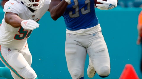 <p>               Detroit Lions running back Kerryon Johnson (33) carries the ball as Miami Dolphins linebacker Raekwon McMillan (52) attempts to tackle, during the first half of an NFL football game against the Miami Dolphins, Sunday, Oct. 21, 2018, in Miami Gardens, Fla. (AP Photo/Wilfredo Lee)             </p>