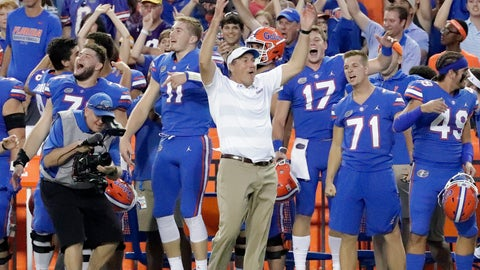 <p>               Florida head coach Dan Mullen, center, celebrates with players on the sidelines during the final moments of an NCAA college football game against LSU, Saturday, Oct. 6, 2018, in Gainesville, Fla. (AP Photo/John Raoux)             </p>