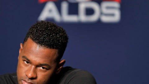 New York Yankees starting pitcher Luis Severino answers questions during a news conference Sunday Oct. 7 2018 in New York. The Yankees will play against the Boston Red Sox in Game 3 of the AL Division Series on Monday. (AP