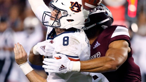 <p>               Mississippi State defensive end Montez Sweat (9) forces Auburn quarterback Jarrett Stidham (8) to fumble as he attempts to pass during the second half of their NCAA college football game in Starkville, Miss., Saturday, Oct. 6, 2018. Mississippi State won 23-9. (AP Photo/Rogelio V. Solis)             </p>