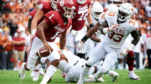 <p>               FILE - In this Saturday, Oct. 6, 2018, file photo, Oklahoma quarterback Kyler Murray (1) scrambles against Texas during the first half of an NCAA college football game at the Cotton Bowl in Dallas. (AP Photo/Cooper Neill, File)             </p>