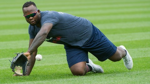 <p>               FILE - In this Aug. 30, 2018 file photo, Minnesota Twins' Miguel Sano warms up before a baseball game, in Cleveland, Ohio.  Sano was under investigation Monday, Oct. 8, 2018, in the Dominican Republic after authorities detained the third baseman following a traffic incident that injured a police officer. (AP Photo/Phil Long, File)             </p>