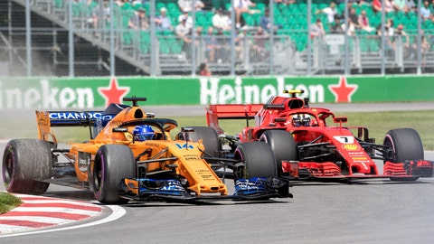 <p>               FILE - In this June 8, 2018, file photo, Ferrari driver Kimi Raikkonen (7), of Finland, and McLaren driver Fernando Alonso, of Spain, take a turn through the Senna corner during the first practice session at the Formula One Canadian Grand Prix auto race in Montreal. Formula One's two old-timers Raikkonen and Alonso are taking very different paths into the late stages of their racing careers. Raikkonen is on a front-running team with Ferrari but has already charted a course toward the back next season with Sauber. Alonso is stuck in the middle with McLaren and has opted to leave F1 at the end of the season. (Graham Hughes/The Canadian Press via AP; File)             </p>
