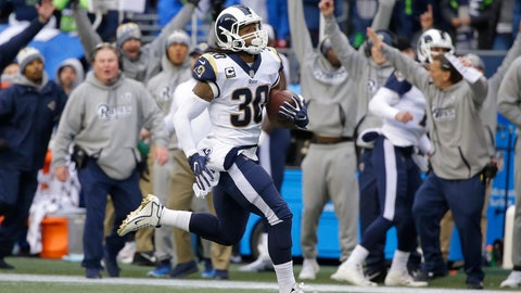 <p>               FILE - In this Dec. 17, 2017, file photo, the Los Angeles Rams' bench reacts as running back Todd Gurley runs for his third touchdown in the first half of an NFL football game against the Seattle Seahawks in Seattle. The Rams won 42-7. Less than a year later, the Rams are more than just the favorites of their division. A quarter of the way through the season, they may be the prohibitive Super Bowl favorites. The Rams (4-0) make their annual trip to Seattle on Sunday looking to take control of the division just five weeks into the season. (AP Photo/Elaine Thompson, File)             </p>