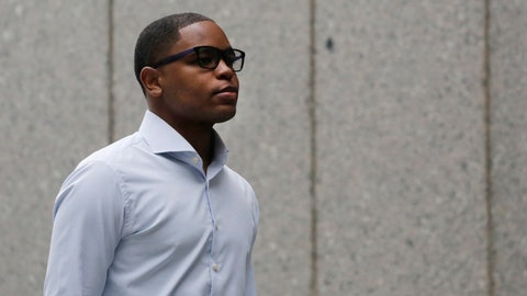 <p>               FILE - In this Oct. 1, 2018, file photo, former sports agent Christian Dawkins arrives at federal court in New York. Dawkins was found guilty along with Adidas executive Jim Gatto and former Adidas consultant Merl Code of funneling secret payments to families in federal corruption case, Wednesday, Oct. 24, 2018. (AP Photo/Mark Lennihan, File)             </p>