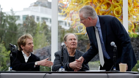 <p>               FILE - In this April 11, 2018, file photo, Tod Leiweke, right, greets part owners Jerry Bruckheimer, left, and David Bonderman to start a news conference naming Leiweke as the president and CEO for a prospective NHL expansion team in Seattle. The prospective owners of an NHL expansion team in Seattle will make their pitch to an executive committee of owners in New York on Tuesday, Oct. 2, 2018, with a vote by the full Board of Governors possibly as early as December and almost a virtual certainty the puck drops in Seattle two or three years from now. (AP Photo/Elaine Thompson, File)             </p>