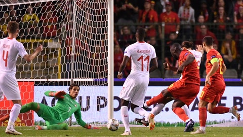 <p>               Belgium's Romelu Lukaku, second right, scores past Switzerland goalkeeper Yann Sommer, left, his side's second goal during the UEFA Nations League soccer match between Belgium and Switzerland at the King Baudouin stadium in Brussels, Friday, Oct. 12, 2018. (AP Photo/Geert Vanden Wijngaert)             </p>