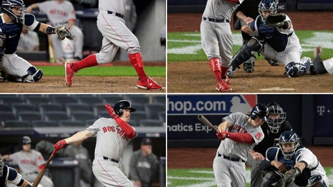 <p>               FILE - Clockwise from top left: Boston Red Sox's Brock Holt connects for a base hit in the fourth inning, hits a ground-rule double in the eighth inning, hits a two-run triple in the fourth inning, and follows through on a two-run home run in the ninth inning, becoming the first player to hit for the cycle in a postseason game against the New York Yankees in Game 3 of baseball's American League Division Series in New York, Monday, Oct. 8, 2018. The Red Sox beat the Yankees 16-1. (AP Photo/File)             </p>