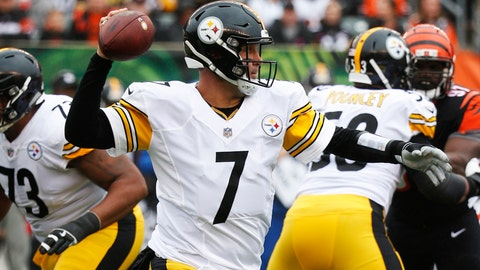 <p>               FILE - In this Oct. 14, 2018, file photo, Pittsburgh Steelers quarterback Ben Roethlisberger throws in the first half of an NFL football game against the Cincinnati Bengals, in Cincinnati. Overlooked in the Bengals' last-minute meltdown is how their defense struggled the entire game to get pressure on Ben Roethlisberger. It's got another huge challenge again Sunday in Kansas City. (AP Photo/Frank Victores, File)             </p>