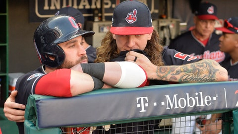 <p>               Cleveland Indians' Jason Kipnis, left, is hugged by starting pitcher Mike Clevinger after the Houston Astros defeated the Indians 11-3 in Game 3 of a baseball American League Division Series, Monday, Oct. 8, 2018, in Cleveland. (AP Photo/Phil Long)             </p>