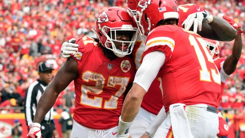 <p>               FILE - In this Oct. 7, 2018 file photo Kansas City Chiefs running back Kareem Hunt (27) celebrates his touchdown against the Jacksonville Jaguars with quarterback Patrick Mahomes (15) during the second half of an NFL football game in Kansas City, Mo. The Cincinnati Bengals bring one of the NFL's worst defenses to Arrowhead Stadium on Sunday, Oct. 21, 2018 to face the Chiefs. They also bring an ailing defense, and that should only make it tougher to slow down Patrick Mahomes and Co. The Bengals are coming off a loss to Pittsburgh while Kansas City lost for the first time last week in New England (AP Photo/Ed Zurga)             </p>