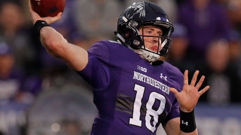 <p>               FILE - In this Sept. 29, 2018, file photo, Northwestern's Clayton Thorson throws a pass against Michigan during the second half of an NCAA college football game in Evanston, Ill. Thorson has started 43 straight games at quarterback for the Wildcats, who face Michigan State this weekend. (AP Photo/Jim Young, File)             </p>