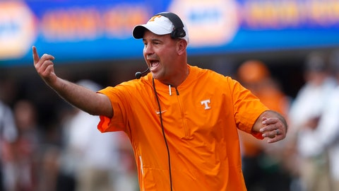 <p>               Tennessee head coach Jeremy Pruitt yells to his players during the first half of an NCAA college football game against the Georgia, Saturday, Sept. 29, 2018, in Athens, Ga. (AP Photo/John Bazemore)             </p>